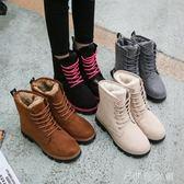 馬丁靴  馬丁短靴短筒平底棉鞋學生女鞋女靴子棉靴 伊鞋本鋪