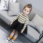 女童休閒裙韓版春秋洋裝 可愛女寶寶連身裙四色條紋上衣蕾絲紗裙 中秋降價