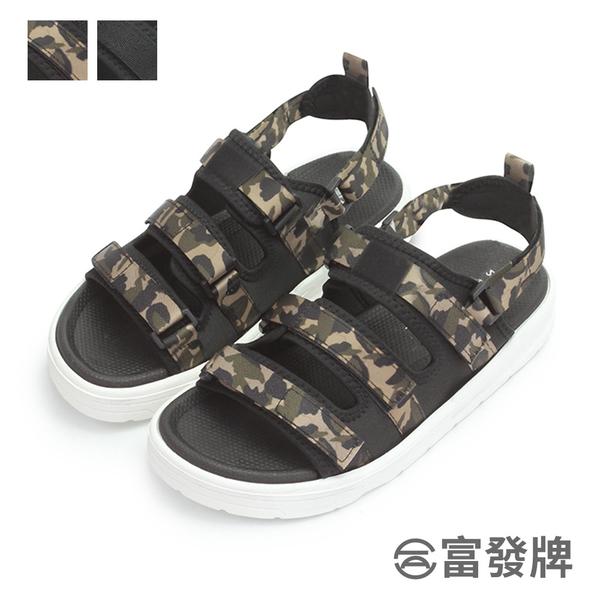 【富發牌】 無重力兩穿可調男款涼拖鞋-黑/迷彩 2ML130