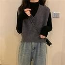 毛衣背心 秋季新款馬甲毛衣背心女小個子百搭洋氣V領短款無袖外套上衣 風尚