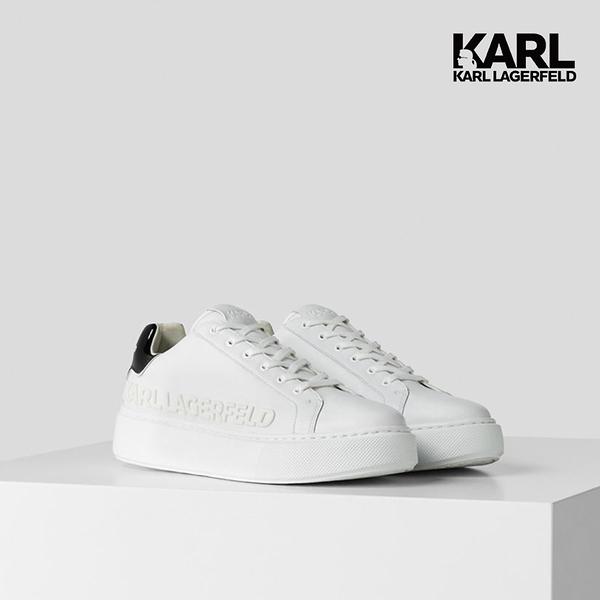 【KARL LAGERFELD】MAXI KUP立體LOGO厚底運動鞋-白/黑