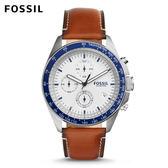 ↖400折價券 現領現折↘ FOSSIL Sport 54 都會運動焦糖色白面計時皮革手錶 男