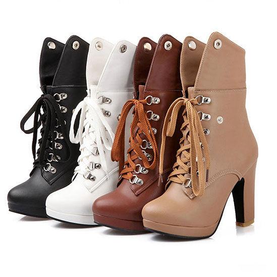 高跟馬丁靴- 歐美時尚新款  個性綁帶  翻摺高跟短靴【AN SHOP】