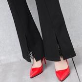 女褲子 春秋2019新款微喇叭褲 女高腰休閒顯瘦開叉蕾絲黑色長褲 超值價