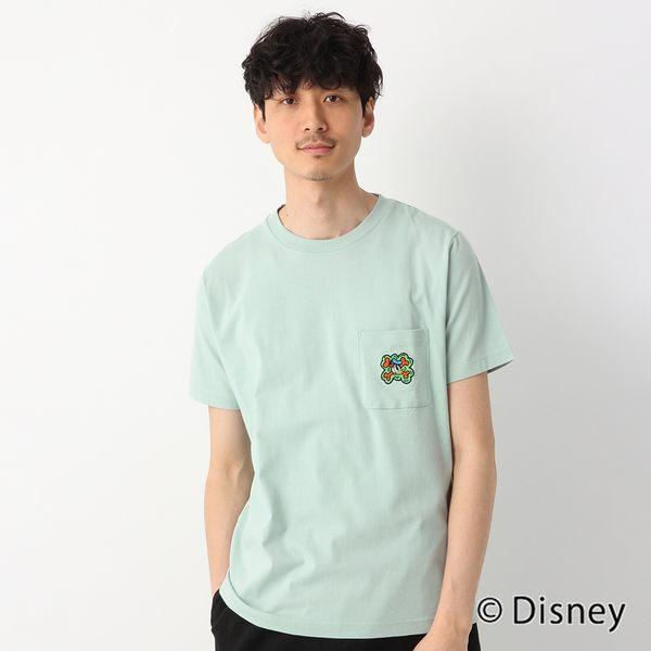 GLOBAL WORK男素色圓領迪士尼聯名Disney布標口袋印花短袖T恤上衣-淺藍