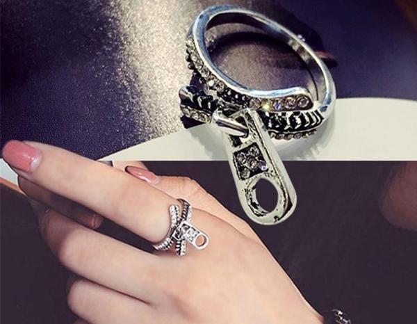 Qmishop 韓版復古鑲鋯石拉鍊戒指【QG1956】