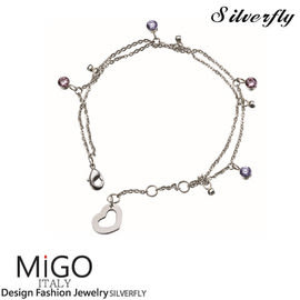 《 SilverFly銀火蟲銀飾 》【MiGO】嬌點白鋼手鍊-雙鍊款