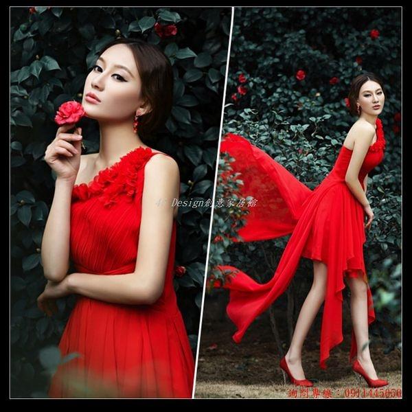 (45 Design) 訂做款式7天到貨 紅色性感單肩花朵前短後長新娘結婚敬酒服婚紗禮服短款晚禮服