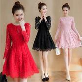 禮服 2018春秋新款女裝中長款長袖蕾絲洋裝修身顯瘦禮服裙子