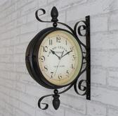 歐式鐵藝雙面掛鐘吊鐘創意田園掛錶現代客廳壁鐘臥室時鐘靜音大號