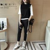 【QV8140】魔衣子-黑白配色短袖上衣長褲兩件式套裝