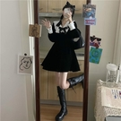 蛋糕裙 黑色娃娃領連身裙女春秋2021年新款法式氣質赫本風顯瘦蝴蝶結裙子 寶貝