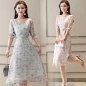 深依度新品裝新款大尺碼女裝長裙子中袖印花雪紡洋裝(S-XL)3色可選