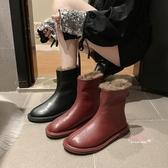 瘦瘦靴 網紅同款馬丁靴女冬百搭保暖防滑后拉鍊瘦瘦靴英倫風平底雪地靴35-39碼 2色
