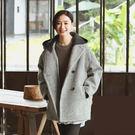毛呢外套-色織條紋加厚羊毛可拆卸連帽大衣/設計家 SW247