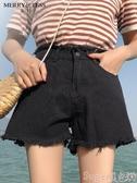 新品牛仔短褲黑色牛仔超短褲女夏高腰寬鬆2020新款韓版顯瘦百搭外穿a字闊腿褲 suger