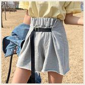 ✦Styleon✦正韓。休閒不收邊插釦腰帶設計伸縮腰短褲。韓國連線。韓國空運。0320。