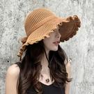 夏季女士太陽帽女時尚遮陽帽防紫外線盆帽休閒百搭漁夫帽草帽 快速出貨
