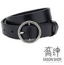 EASON SHOP(GW5064)韓版基本百搭款窄版窄款高質量圓鐵圈可調式腰帶女修身皮帶PU黑色