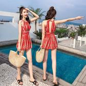 泳衣泡溫泉女2019新款時尚顯瘦性感泳裝裙式連體保守遮肚游泳衣女