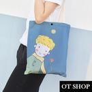 OT SHOP[現貨]側肩背 帆布包 手提袋 購物袋 托特包 絲絨布 王子 玫瑰 插畫 簡約小清新配件 H2083