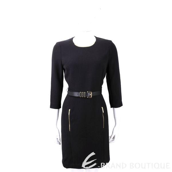 Michael Kors 黑色金屬項圈飾七分袖洋裝(附腰帶) 1320475-01
