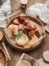 越南藤編托盤水果盤雙耳藤籃編織早餐籃日式竹編面包筐點心籃子