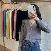 長袖上衣 2021早秋新款v領冰絲薄款長袖針織毛衣開衫外套女裝外搭短款上衣 韓國時尚週