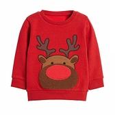 紅色捲毛造型麋鹿毛圈棉圓領長袖上衣 衛衣 中性款 薄長袖 現貨 男童 女童 兒童 聖誕服裝 聖誕節