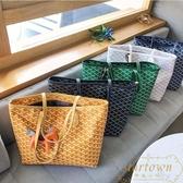 包包女韓國狗牙包大容量購物袋單肩手提拖特包【繁星小鎮】