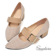 訂製鞋 訂製復古格紋方釦尖頭鞋-可可色下單區