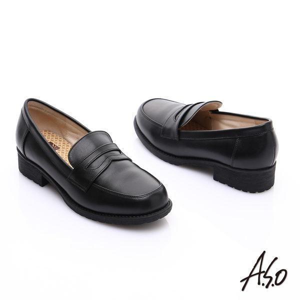 A.S.O 學生鞋款 真皮頂級奈米學生鞋  黑