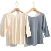 秋裝上市[H2O]雙色蕾絲剪接綁帶蝴蝶結七分袖上衣 - 卡/淺藍色 #0631003