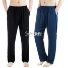 睡褲 中老男棉綢褲睡褲夏季薄款綿綢寬鬆長褲家居褲休閒人造棉褲子女