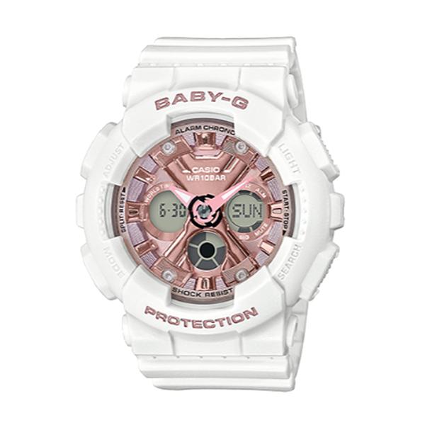 CASIO 卡西歐 手錶專賣店 BABY-G CASIO BA-130-7A1 風格時尚雙顯女錶 樹脂錶帶 霧面白x粉紅 防水100米