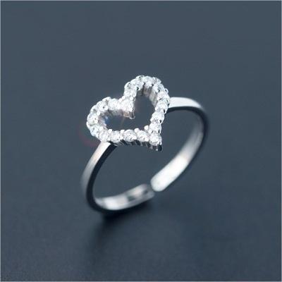 戒指 925純銀 鑲鑽-鏤空愛心生日情人節禮物女開口戒73dt313【時尚巴黎】