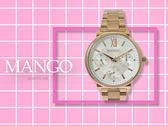 【時間道】MANGO經典羅馬刻度三眼女腕錶 /白面玫瑰金鋼帶(MA6737L-80R)免運費