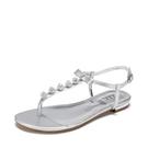 Daphne/達芙妮杜拉拉夾腳趾平底丁字扣水鑽珠女涼鞋1717303047