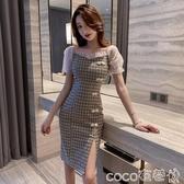 旗袍法式復古氣質中國風格子泡泡袖改良旗袍仙女裙森系桔梗夏季連身裙