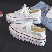 半拖小白鞋2021新款ins低幫鞋子女學生百搭ulzzang厚底增高帆布鞋  【端午節特惠】
