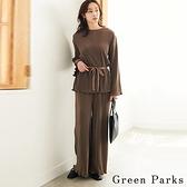 「Autumn」【SET ITEM】細緻條紋綁帶上衣+褶邊下擺寬褲 - Green Parks