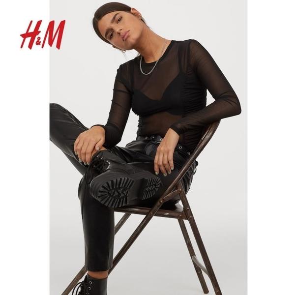 網紗上衣HM DIVIDED女裝T恤 春款時尚黑色長袖網紗上衣 0878002 麗人印象 免運