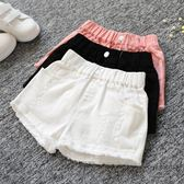 女童夏季牛仔短褲正韓破洞中大童兒童白色棉質外穿百搭寬鬆熱褲子禮物限時八九折