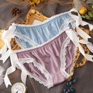 →女 三角褲←新品冰絲 女內褲 綁帶 素色 蕾絲邊低腰 三角內褲 假系帶 舒適透氣 XS_B51