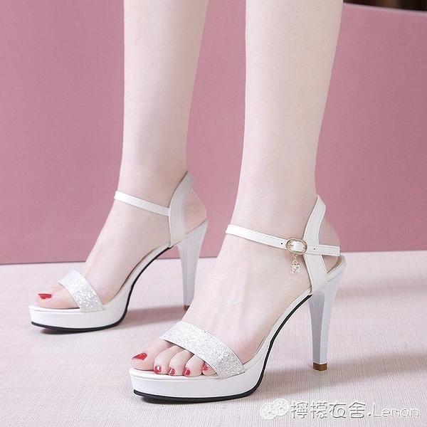女夏新款女涼鞋一字扣帶性感超高跟女鞋細跟防水臺露趾亮片高跟鞋 雙十二全館免運