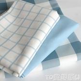 桌巾藍白格子地中海北歐藍色粉色簡潔大方純棉帆布沙發巾桌布餐桌蓋布 童趣屋