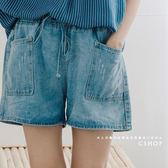 褲子  美式休閒大口袋牛仔短褲   單色-小C館日系