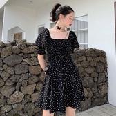 短袖波點洋裝2020夏季新款收腰顯瘦一字領氣質短裙正韓女裝裙子