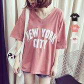 BOBO小中大尺碼【2194】寬版V領NEWYORK CITY 紐約市短袖上衣-共3色