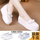 樂福鞋-氣質簡約粗針線厚底小白鞋